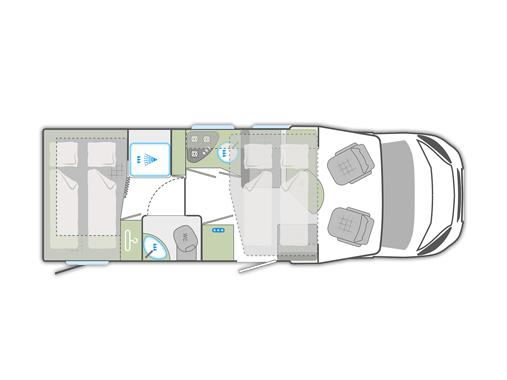 Teilintegriertes Wohnmobil mieten mit Doppelbett und Hubbett