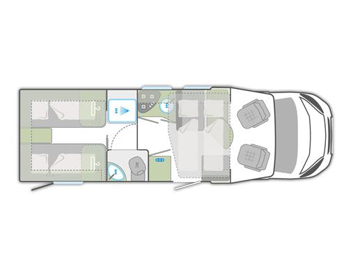Teilintegriertes Wohnmobil mieten mit Einzelbetten und Hubbett