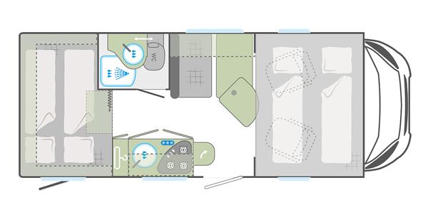 Grundriss Alkoven Wohnmobil für 4 Personen